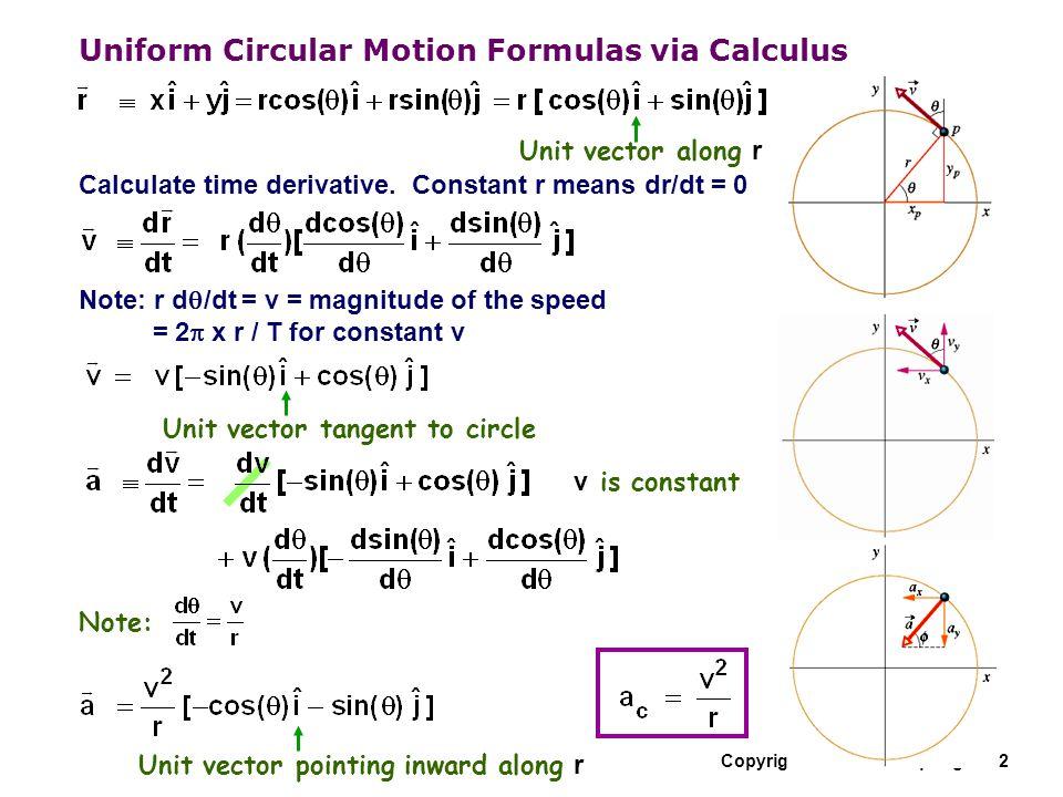 Copyright R. Janow – Spring 2012 Uniform Circular Motion Formulas via Calculus Calculate time derivative. Constant r means dr/dt = 0 Note: r d  /dt =
