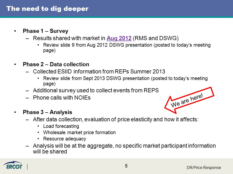 6 Phase 2 – Data collection - REPs Thanks to the data collection now we know: –The number of premises on retail contracts for dynamic pricing and/or demand response Details collected in snapshot file received Aug 2013 –ESIID –Category –Direct Load Control Y/N Let's take a look at the pricing events graphs and then let's look briefly at the surveys Next slides show pricing events Details collected in targeted surveys received Dec 2013 –List of dates and start/stop times for DR events –What type of notification (if any) –Examples of surveys DR/Price Response