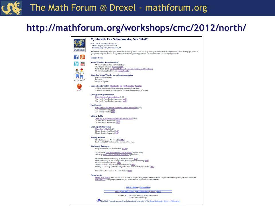 The Math Forum @ Drexel - mathforum.org http://mathforum.org/workshops/cmc/2012/north/