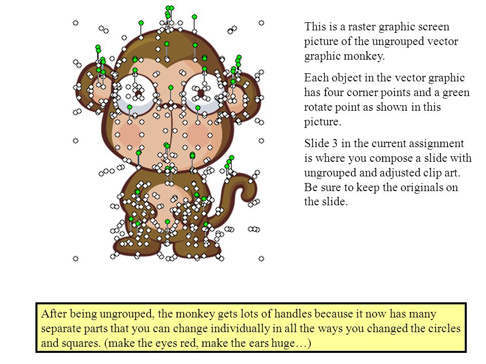 After being ungrouped, the monkey gets lots of handles because it now has many separate parts that you can change individually in all the ways you changed the circles and squares.