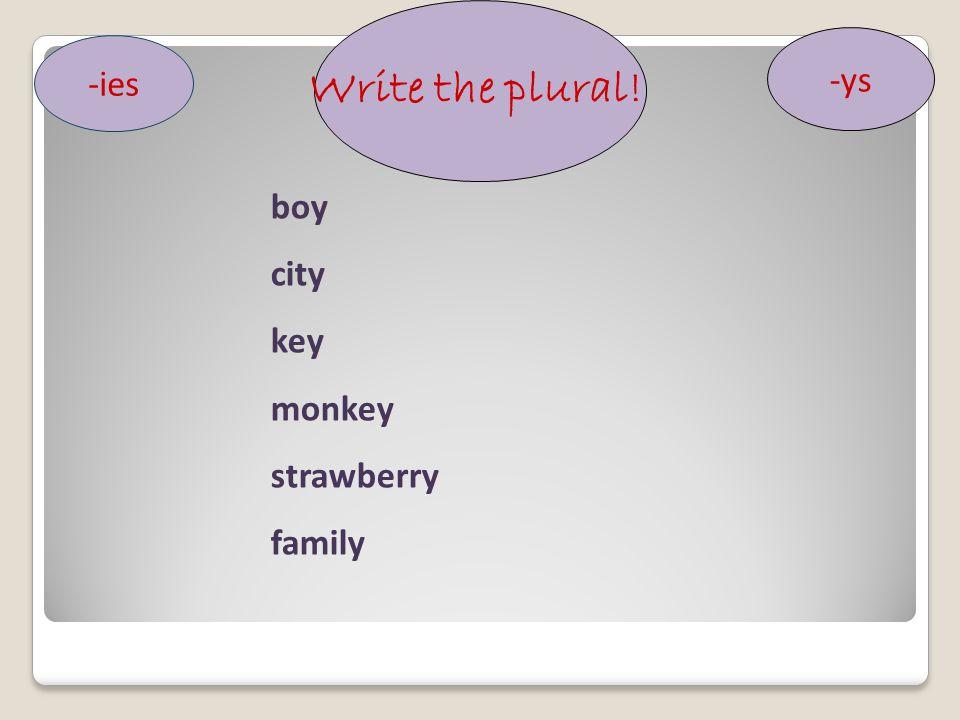 Write the plural! -ies -ys boy city key monkey strawberry family