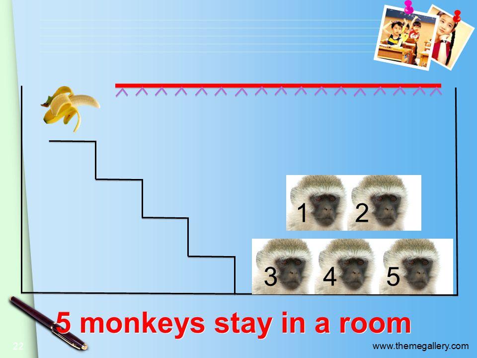 5 monkeys stay in a room 22 12 345