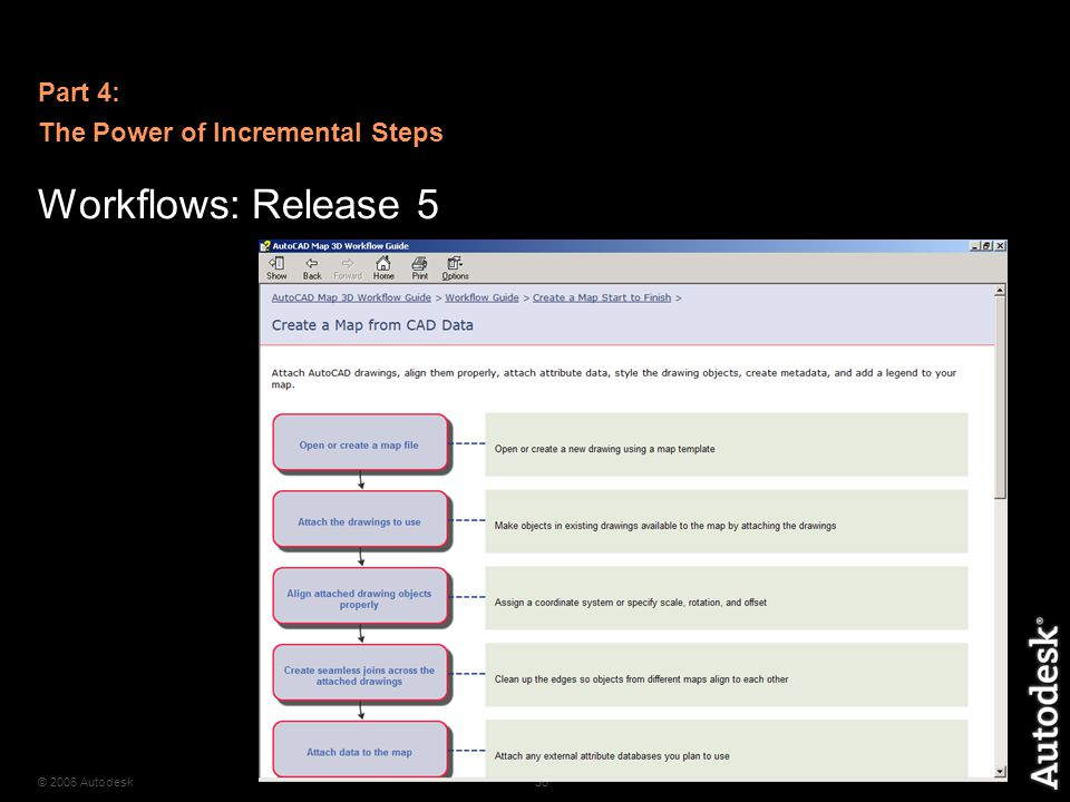 © 2006 Autodesk36 Workflows: Release 5 Part 4: The Power of Incremental Steps