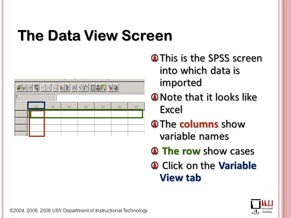 ©2004, 2006, 2008 UIW Department of Instructional Technology The Data View Screen This is the SPSS screen into which data is imported Note that it looks like Excel The columns show variable names The row show cases Click on the Variable View tab