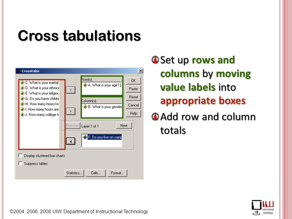 ©2004, 2006, 2008 UIW Department of Instructional Technology Cross tabulations Set up rows and columns by moving value labels into appropriate boxes Add row and column totals