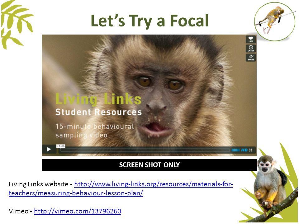 Let's Try a Focal Living Links website - http://www.living-links.org/resources/materials-for- teachers/measuring-behaviour-lesson-plan/http://www.livi