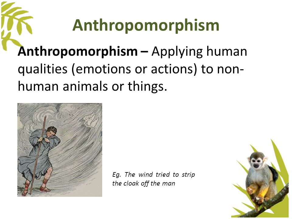 Anthropomorphism Anthropomorphism – Applying human qualities (emotions or actions) to non- human animals or things. Eg. The wind tried to strip the cl