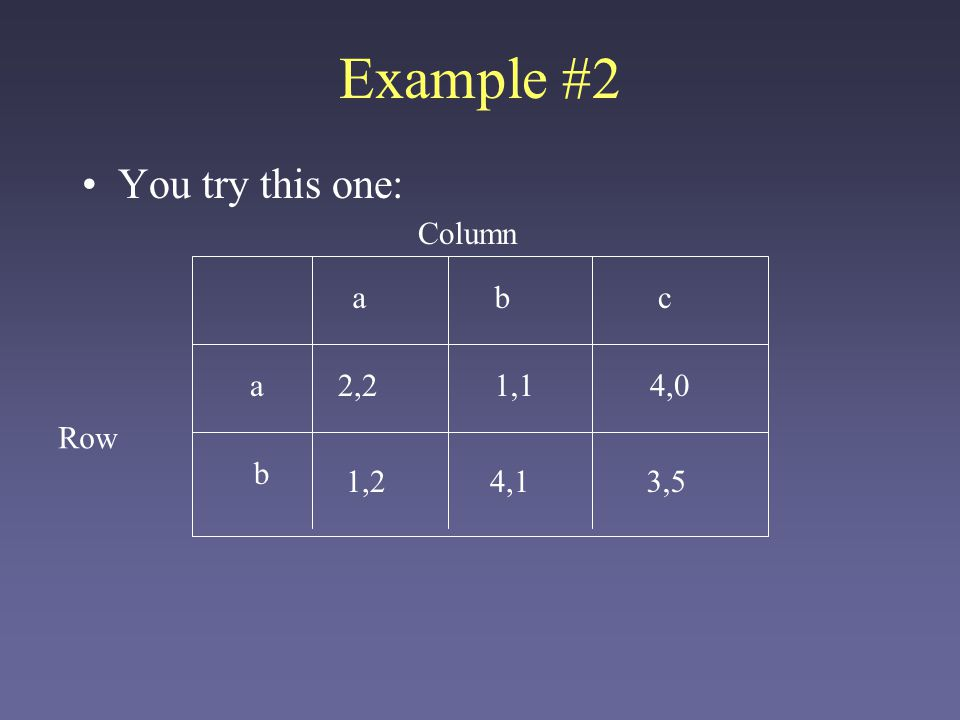 Example #2 You try this one: ab b 1,2 1,1 4,1 2,2 Row Column a c 4,0 3,5