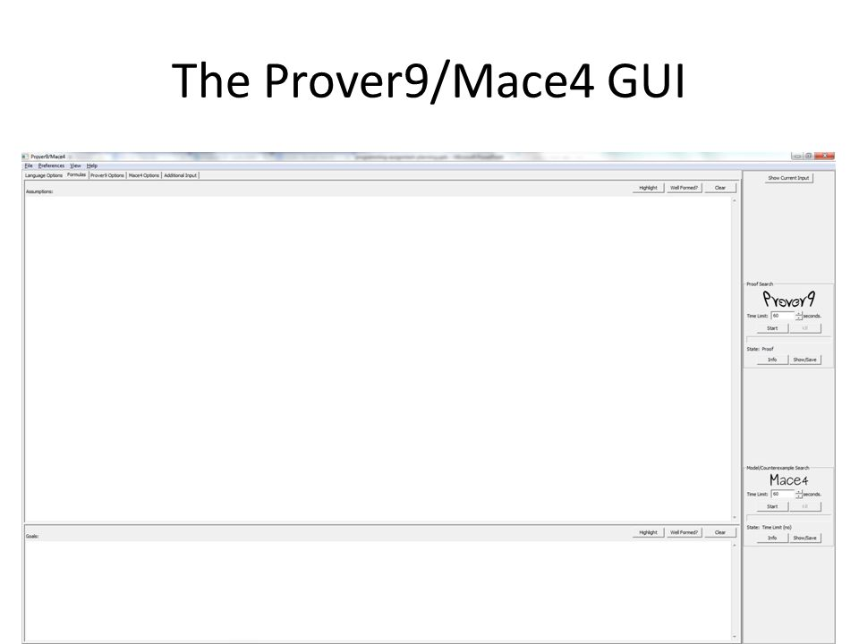Step 2: Run Prover9/Mace4 on an Example Problem 1.