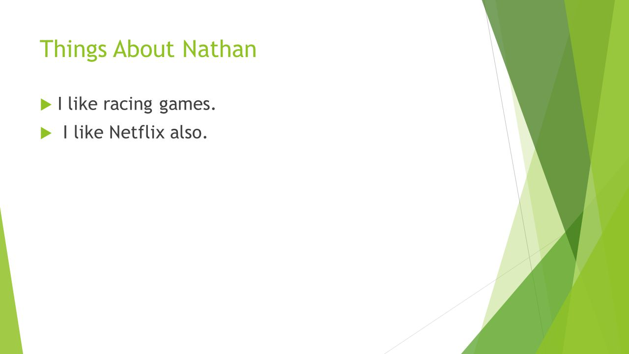 Things About Nathan  I like racing games.  I like Netflix also.