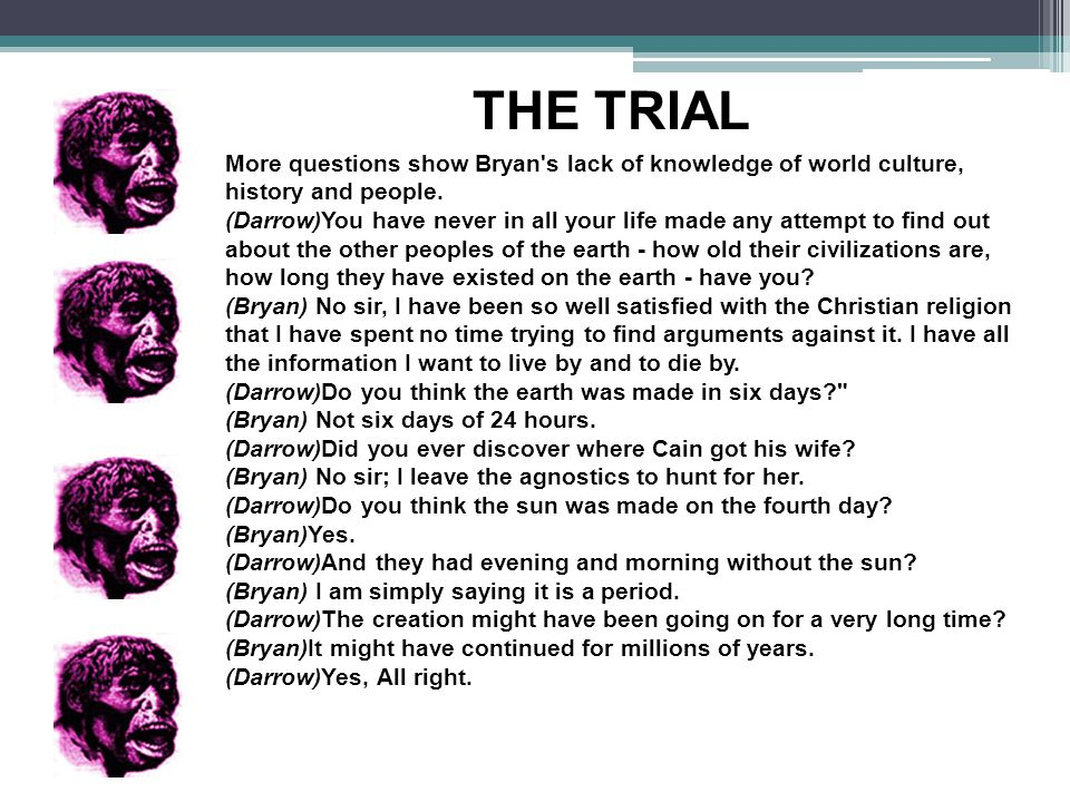 THE TRIAL More questions show Bryan s lack of knowledge of world culture, history and people.