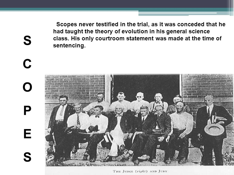 Scopes never testified in the trial, as it was conceded that he had taught the theory of evolution in his general science class.