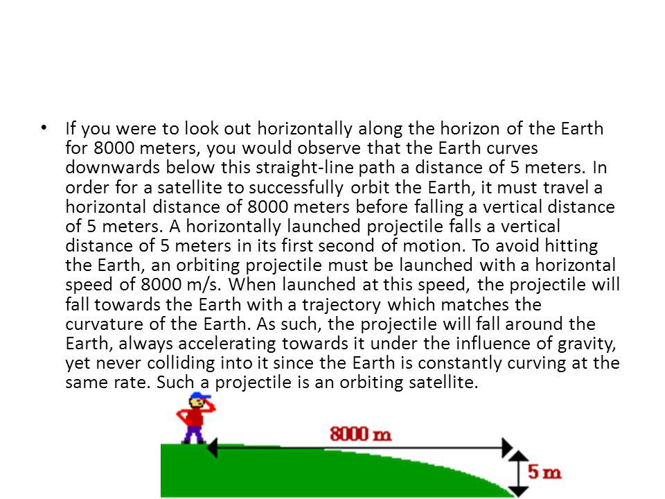 If you were to look out horizontally along the horizon of the Earth for 8000 meters, you would observe that the Earth curves downwards below this straight-line path a distance of 5 meters.