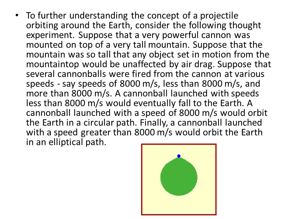 To further understanding the concept of a projectile orbiting around the Earth, consider the following thought experiment.