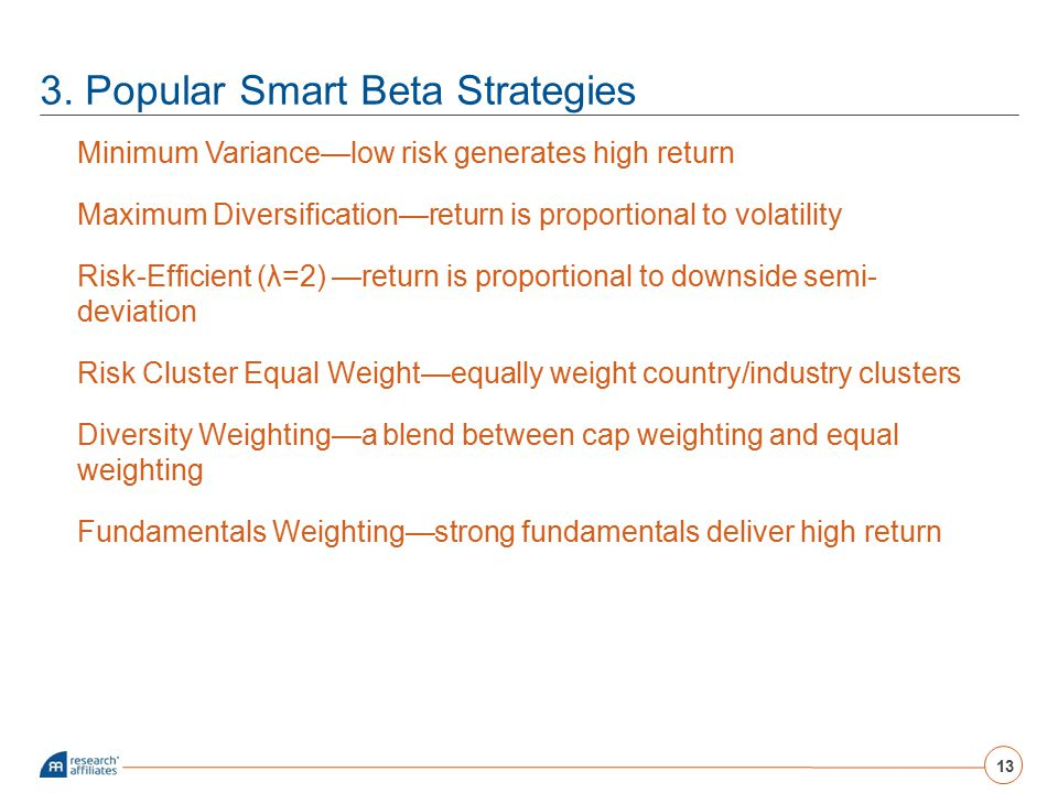 3. Popular Smart Beta Strategies Minimum Variance—low risk generates high return Maximum Diversification—return is proportional to volatility Risk-Eff