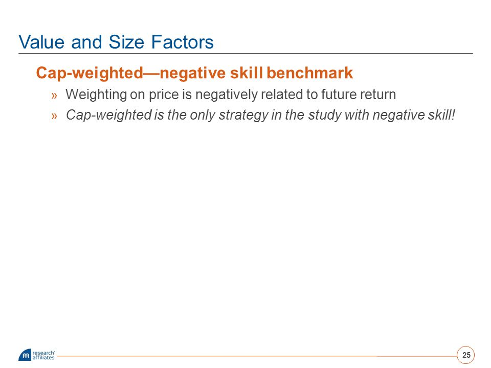 Value and Size Factors Cap-weighted—negative skill benchmark » Weighting on price is negatively related to future return » Cap-weighted is the only st