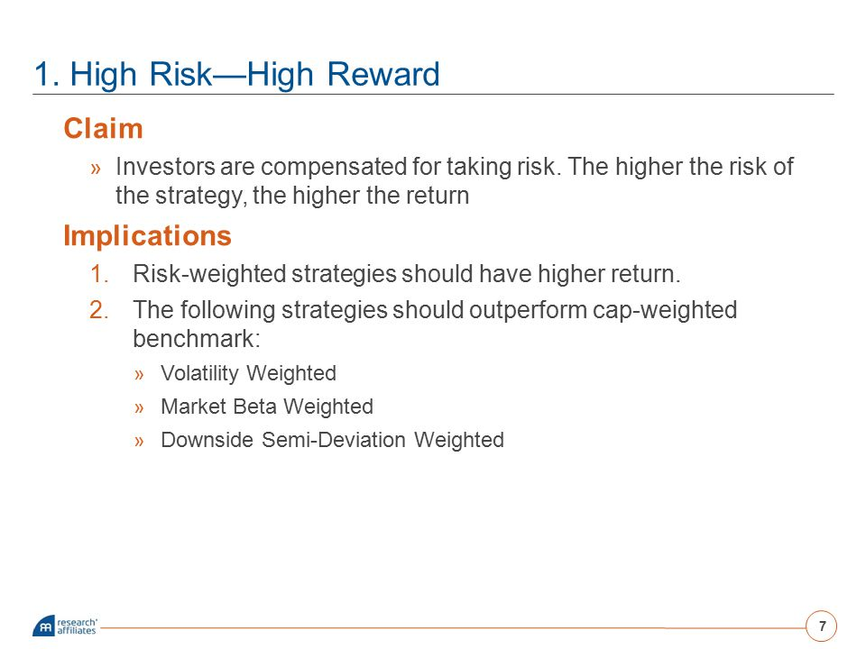 1. High Risk—High Reward Claim » Investors are compensated for taking risk. The higher the risk of the strategy, the higher the return Implications 1.