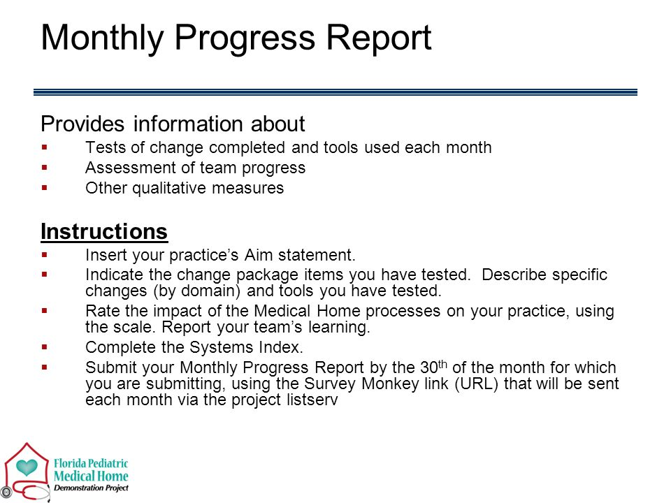 Monthly Progress Report Provides information about  Tests of change completed and tools used each month  Assessment of team progress  Other qualitative measures Instructions  Insert your practice's Aim statement.