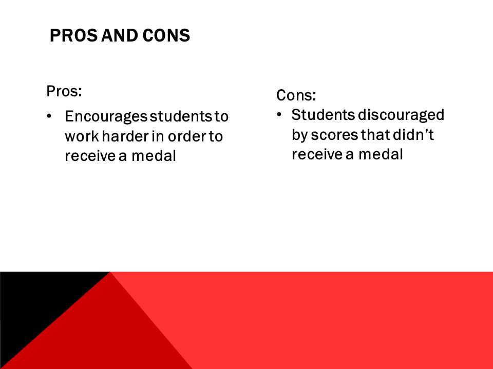 PROS AND CONS Pros: Encourages students to work harder in order to receive a medal Cons: Students discouraged by scores that didn't receive a medal