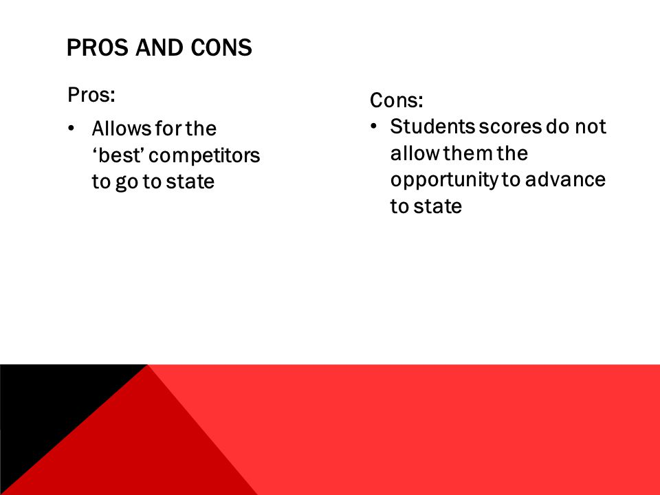 PROS AND CONS Pros: Allows for the 'best' competitors to go to state Cons: Students scores do not allow them the opportunity to advance to state