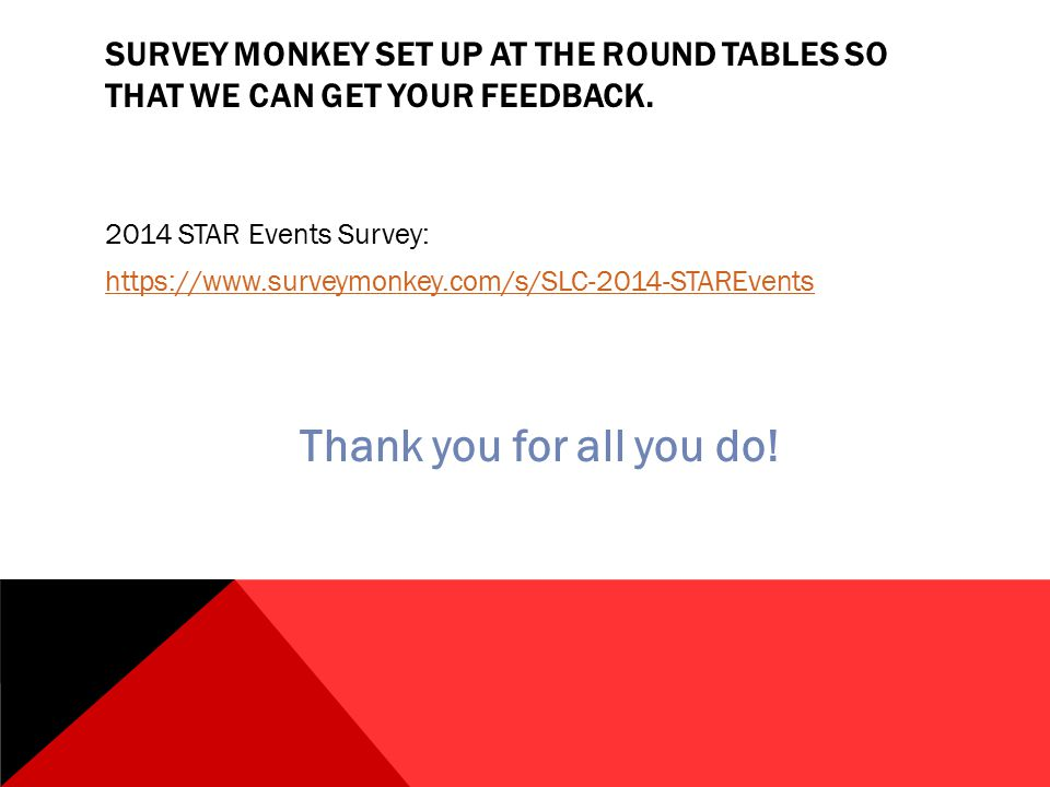 SURVEY MONKEY SET UP AT THE ROUND TABLES SO THAT WE CAN GET YOUR FEEDBACK.