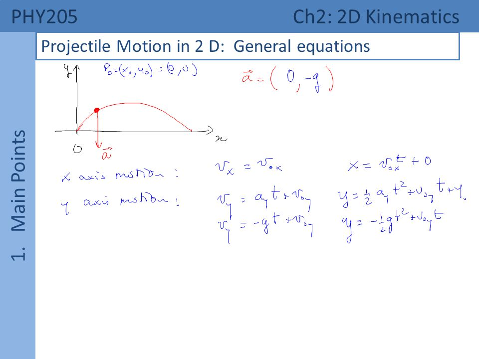 PHY205 Ch2: 2D Kinematics 1. Main Points Projectile Motion in 2 D: General equations