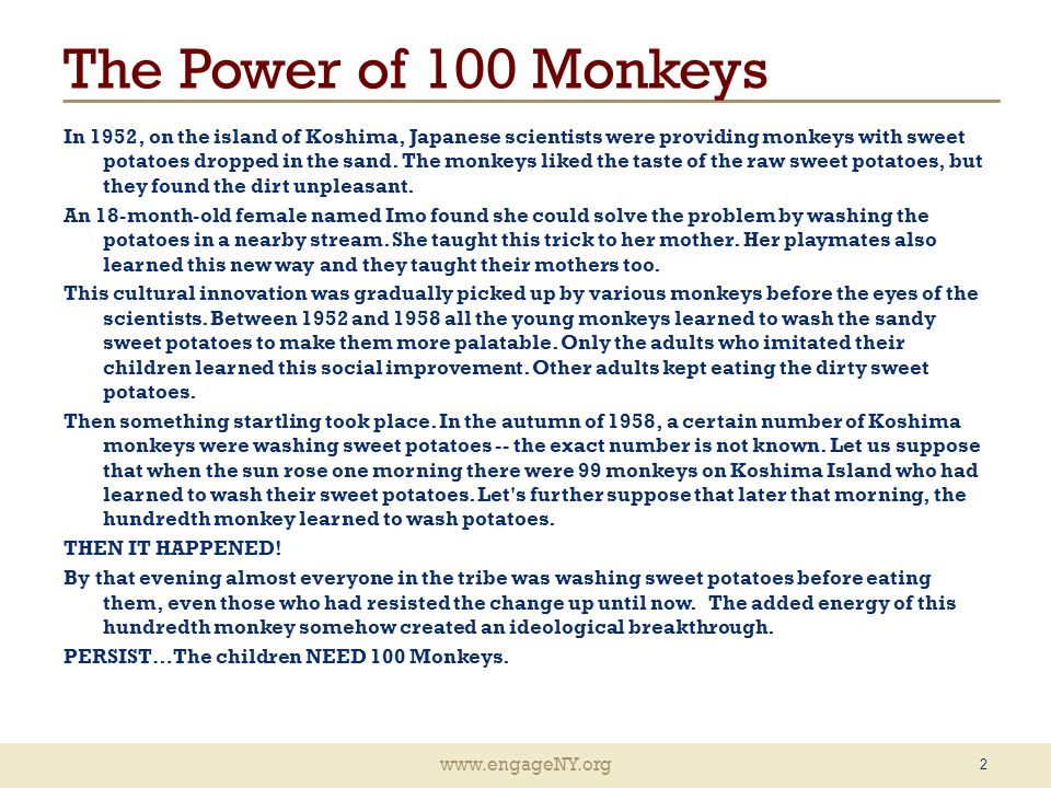 www.engageNY.org The Power of 100 Monkeys In 1952, on the island of Koshima, Japanese scientists were providing monkeys with sweet potatoes dropped in the sand.
