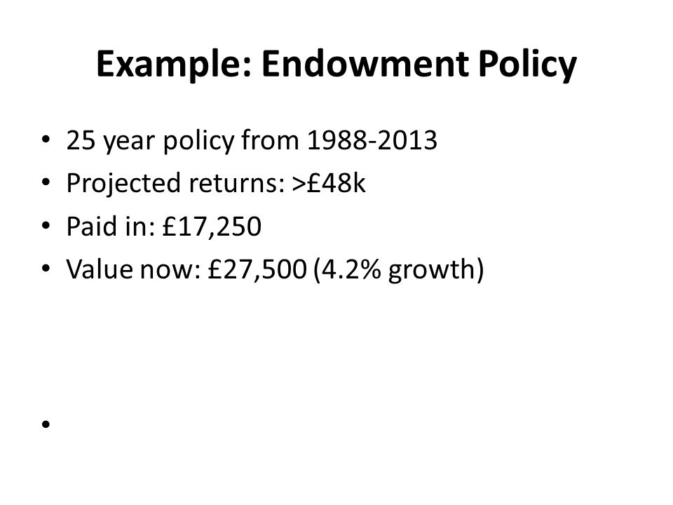 Example: Endowment Policy 25 year policy from 1988-2013 Projected returns: >£48k Paid in: £17,250 Value now: £27,500 (4.2% growth) – But inflation averaged 3.5% – Stock market return of 9.2% Where is the missing 5%???
