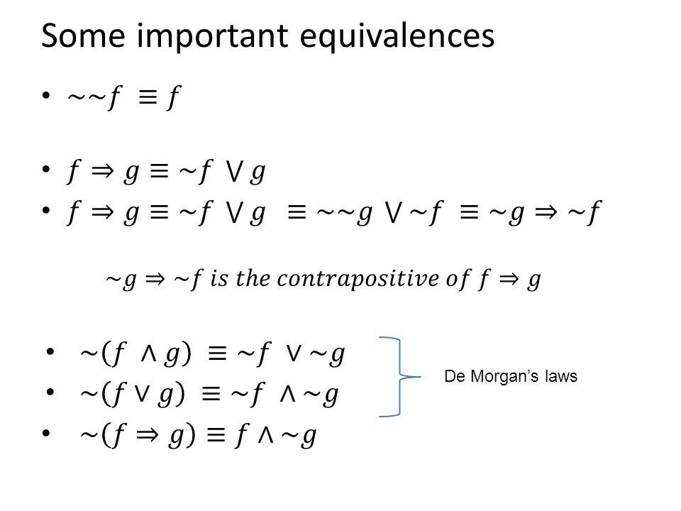 Some important equivalences De Morgan's laws