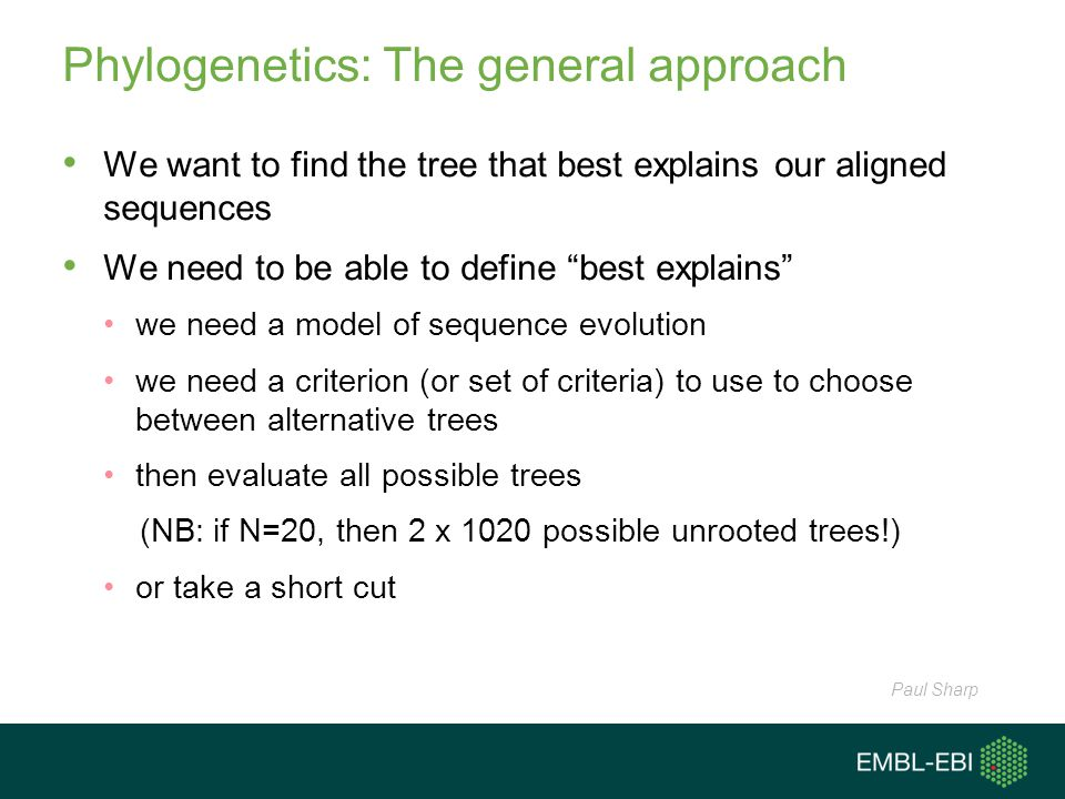 "Phylogenetics: The general approach We want to find the tree that best explains our aligned sequences We need to be able to define ""best explains"" we"