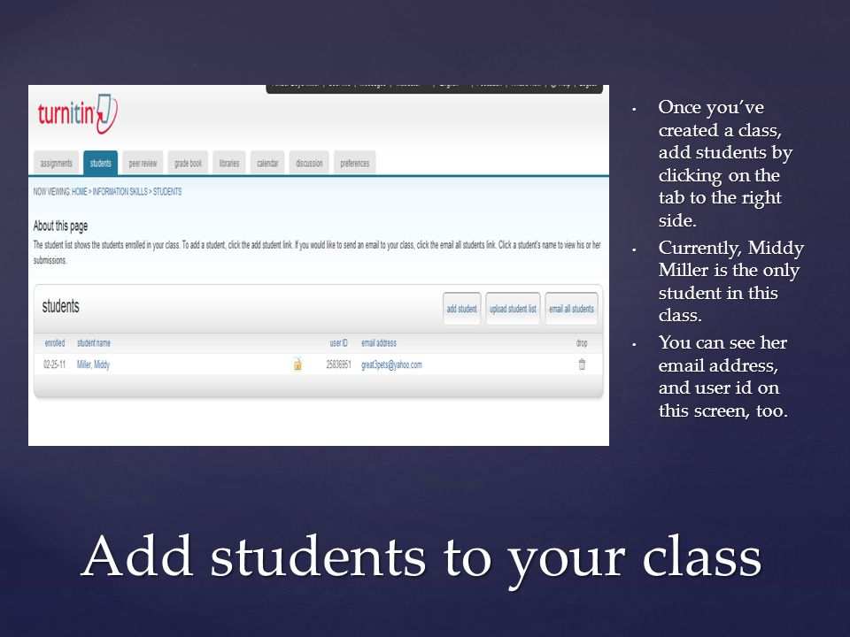 { Once you've created a class, add students by clicking on the tab to the right side.