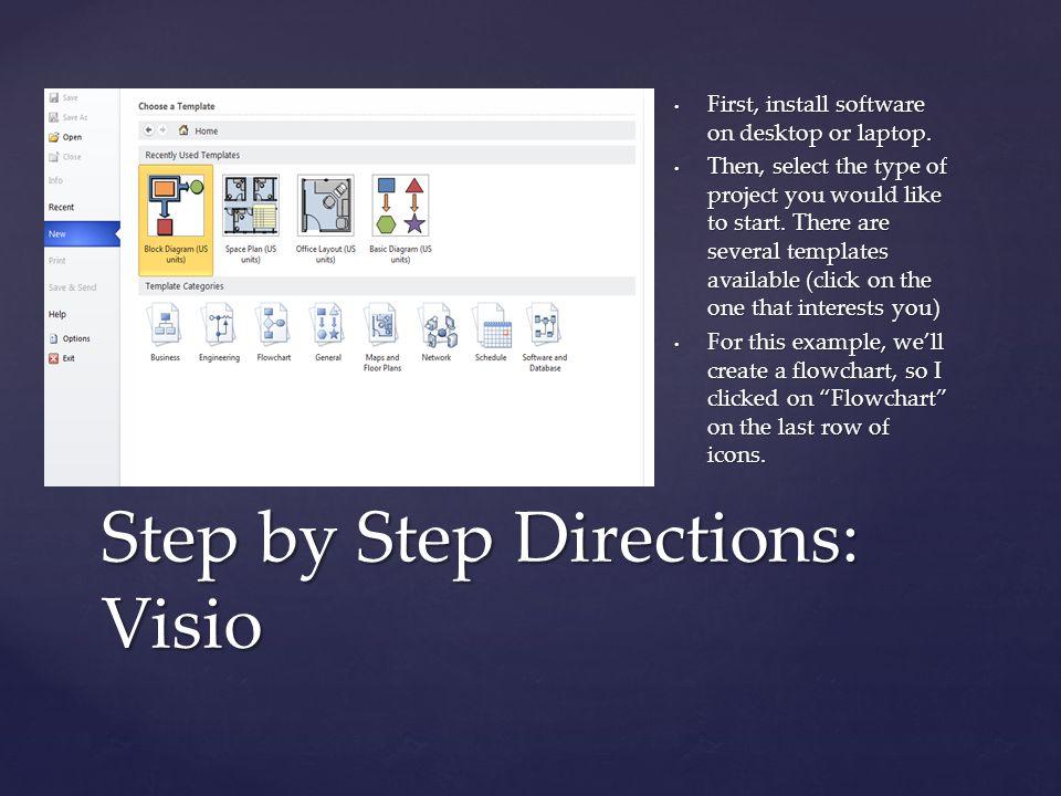 { First, install software on desktop or laptop.