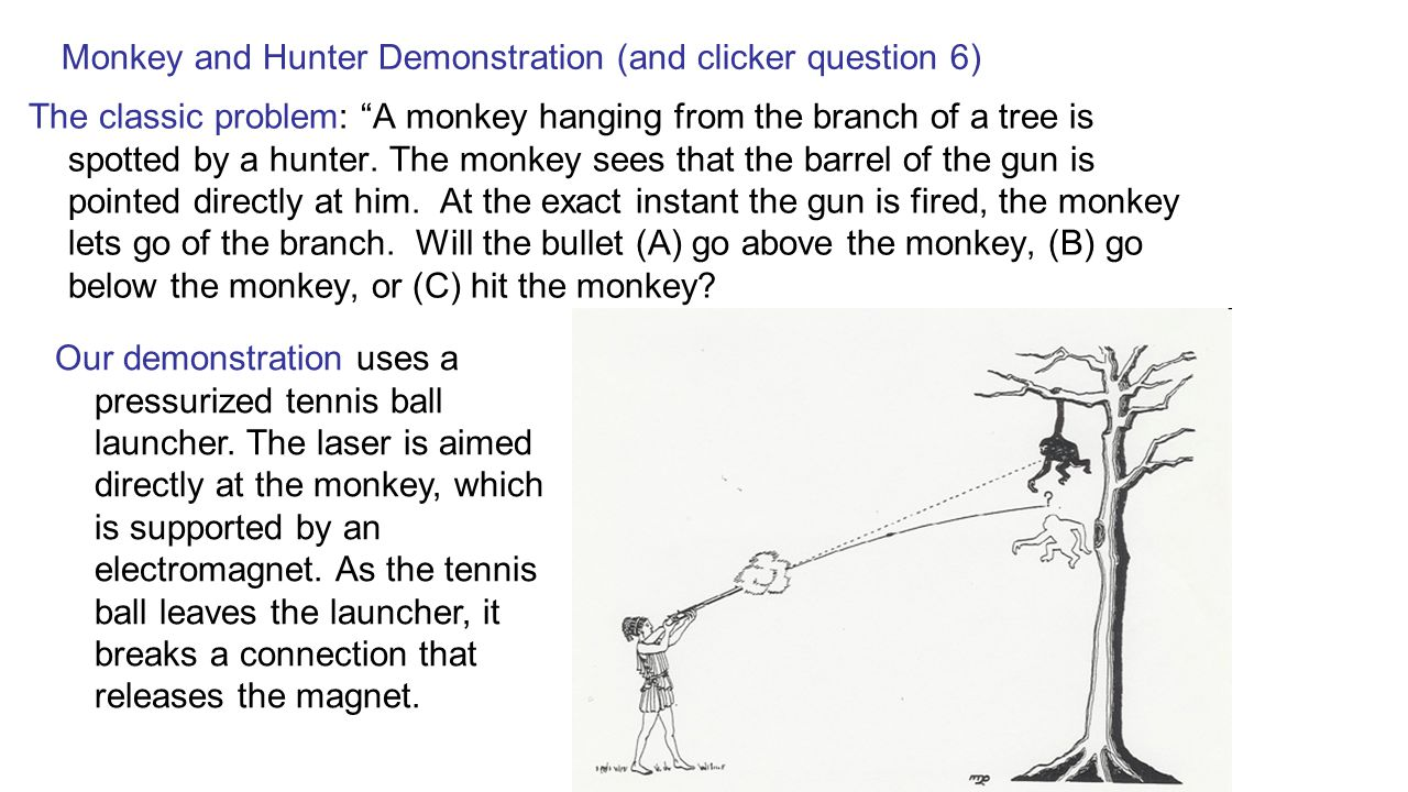 """Monkey and Hunter Demonstration (and clicker question 6) The classic problem: """"A monkey hanging from the branch of a tree is spotted by a hunter. The"""