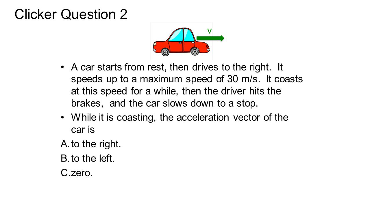 A car starts from rest, then drives to the right. It speeds up to a maximum speed of 30 m/s. It coasts at this speed for a while, then the driver hits