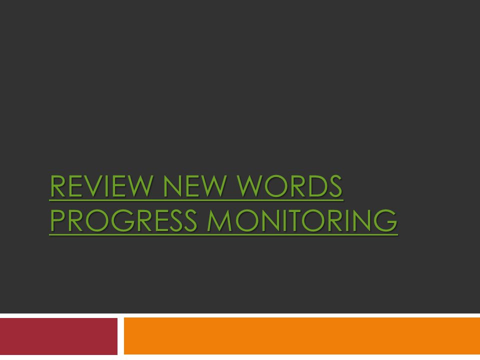 REVIEW NEW WORDS PROGRESS MONITORING REVIEW NEW WORDS PROGRESS MONITORING