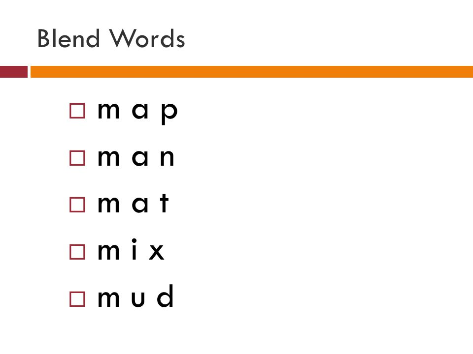 Blend Words  m a p  m a n  m a t  m i x  m u d