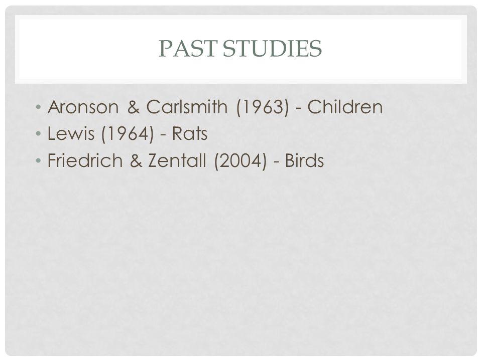 PAST STUDIES Aronson & Carlsmith (1963) - Children Lewis (1964) - Rats Friedrich & Zentall (2004) - Birds