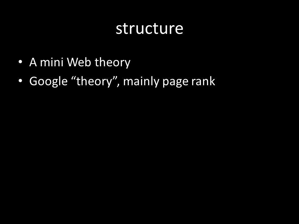 structure A mini Web theory Google theory , mainly page rank