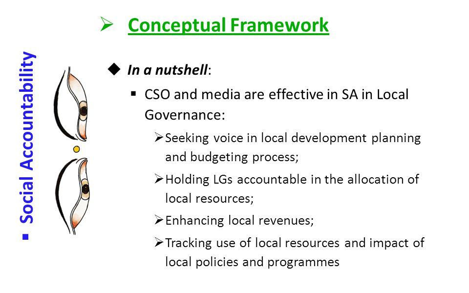  Conceptual Framework  Social Accountability  In a nutshell:  SA – Govt. keeps the door open for people's participation, and citizens are willing