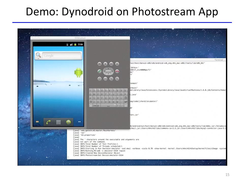 Demo: Dynodroid on Photostream App Demo 15