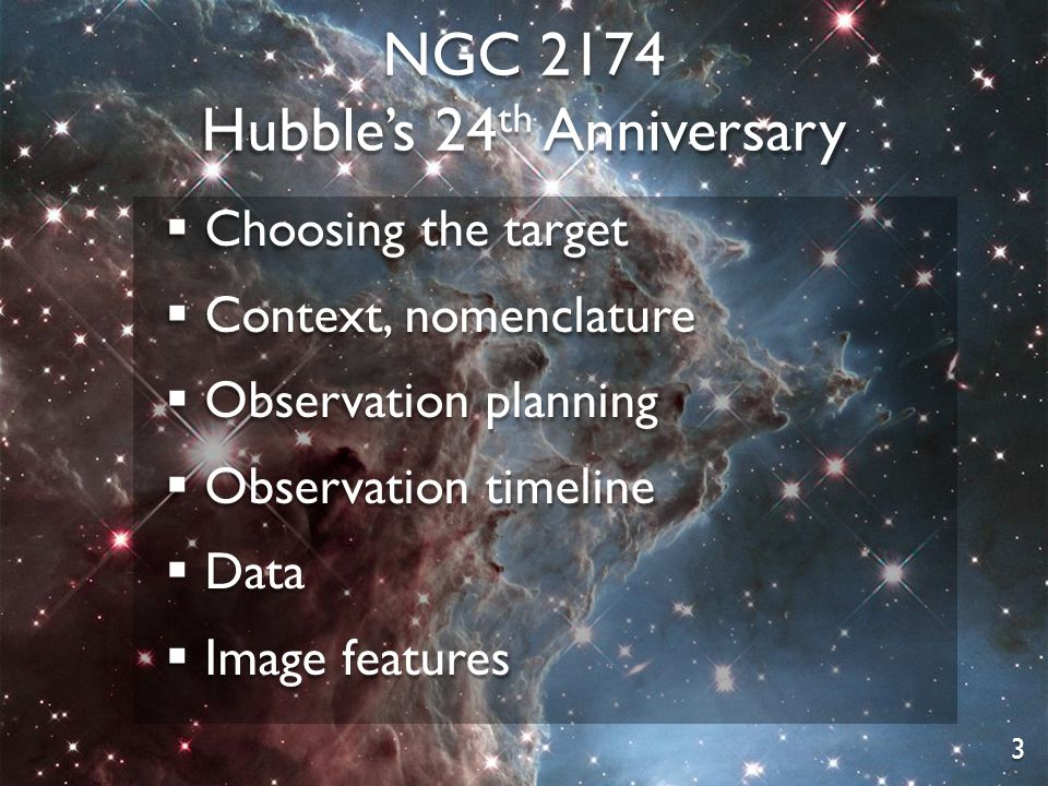 NGC 2174 Hubble's 24 th Anniversary  Choosing the target  Context, nomenclature  Observation planning  Observation timeline  Data  Image features 3