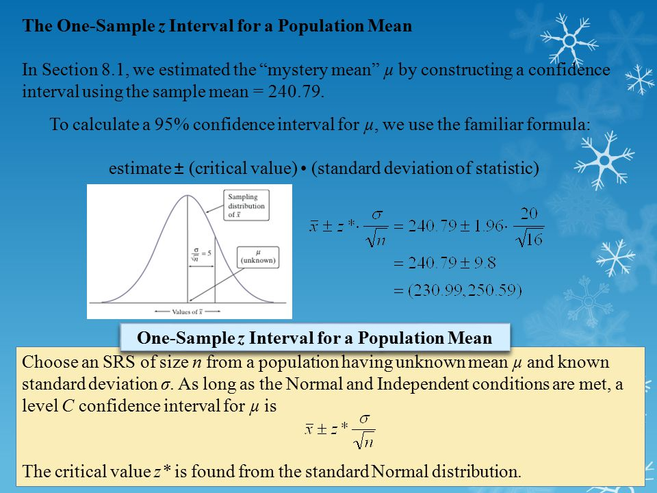 To calculate a 95% confidence interval for µ, we use the familiar formula: estimate ± (critical value) (standard deviation of statistic) Choose an SRS
