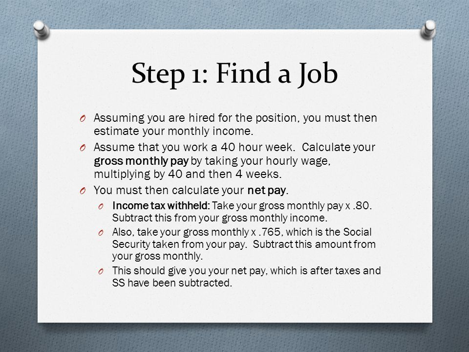 Step 1 Assignments O Turn in: O Completed job application O Resume O W4 form O Net pay O DUE: Thursday, May 16