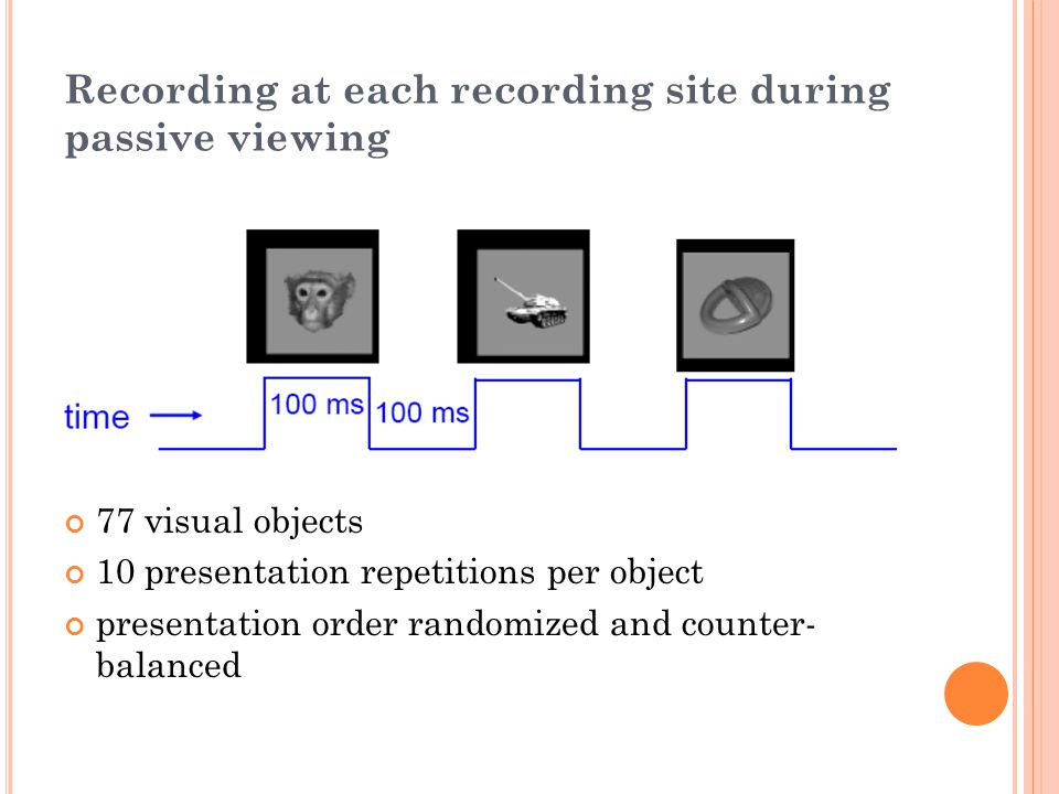 Recording at each recording site during passive viewing 77 visual objects 10 presentation repetitions per object presentation order randomized and counter- balanced