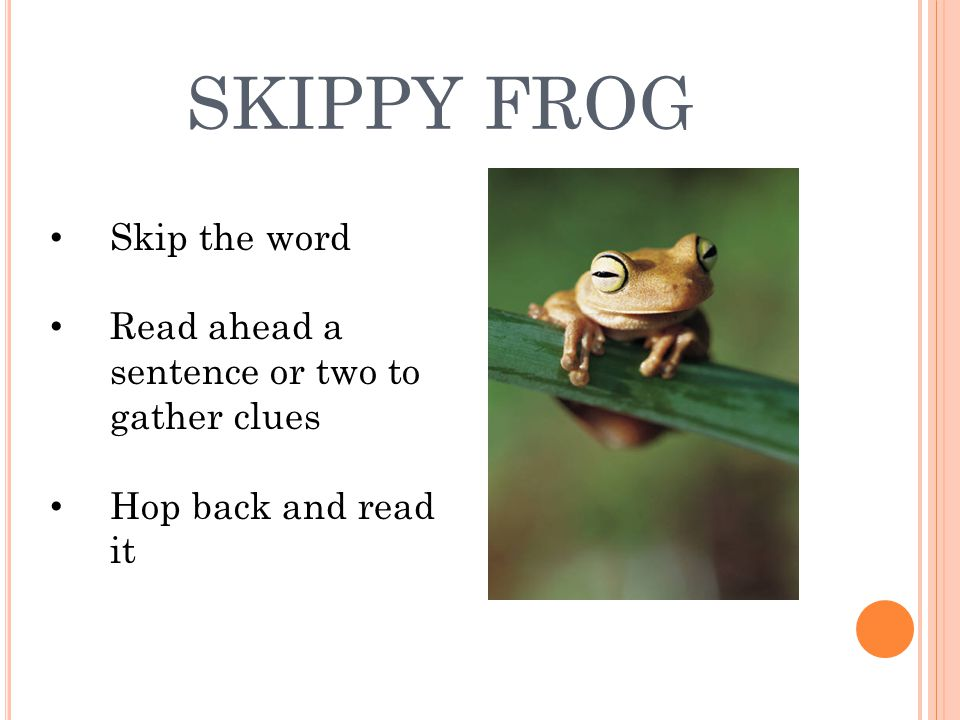 SKIPPY FROG Skip the word Read ahead a sentence or two to gather clues Hop back and read it
