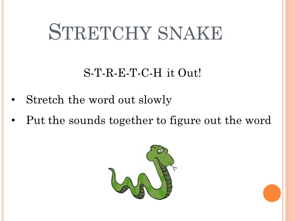 S TRETCHY SNAKE S-T-R-E-T-C-H it Out! Stretch the word out slowly Put the sounds together to figure out the word