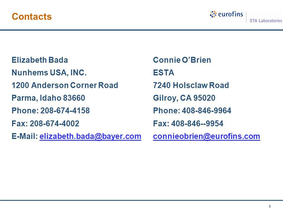 Contacts Elizabeth BadaConnie O'Brien Nunhems USA, INC.ESTA 1200 Anderson Corner Road7240 Holsclaw Road Parma, Idaho 83660Gilroy, CA 95020 Phone: 208-674-4158Phone: 408-846-9964 Fax: 208-674-4002Fax: 408-846--9954 E-Mail: elizabeth.bada@bayer.comconnieobrien@eurofins.comelizabeth.bada@bayer.comconnieobrien@eurofins.com 6