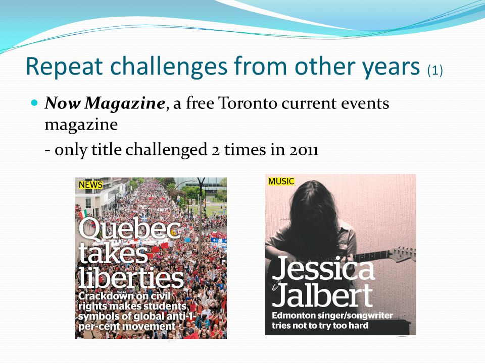 Repeat challenges from other years (1) Now Magazine, a free Toronto current events magazine - only title challenged 2 times in 2011