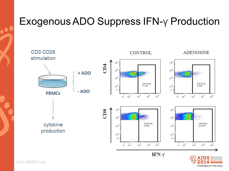 www.aids2014.org Exogenous ADO Suppress IFN-γ Production ADENOSINE CONTROL CD4 CD8 IFN-γ PBMCs CD3 CD28 stimulation + ADO - ADO cytokine production