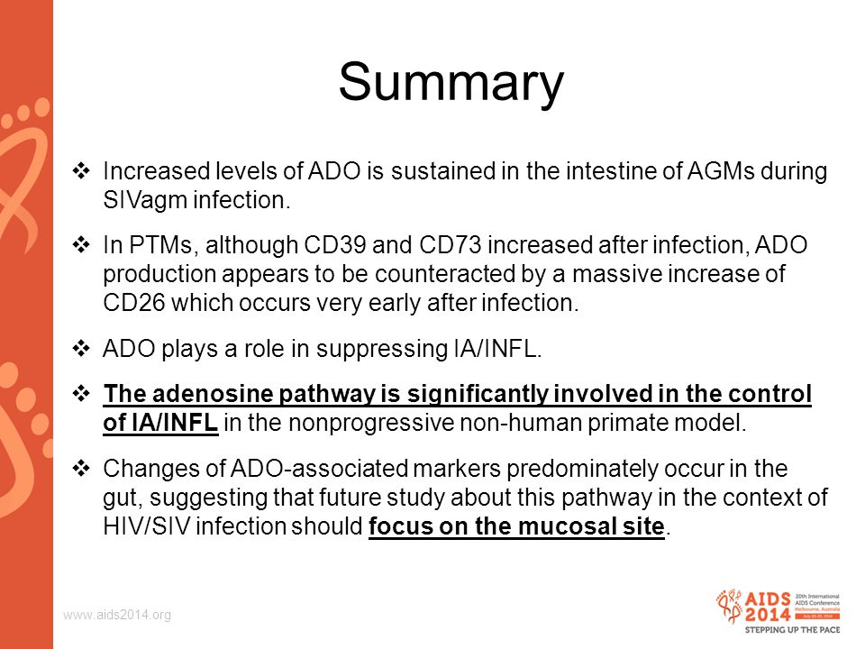 www.aids2014.org Summary  Increased levels of ADO is sustained in the intestine of AGMs during SIVagm infection.